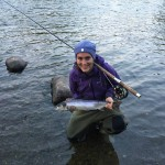 Beth Webb - Blackwood Estate. 4lb grilse 5th Septemeber 2015 - landed on a green butt cascade.